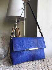 Pied A Terre blue & black snake pattern medium shoulder bag handbag