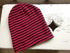 Child's / boy's red & black striped beanie hat