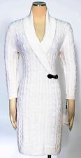 Calvin Klein Winter White Sweater Dress Size XL Buckled Cable-knit Women's New*