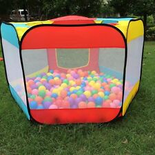 Kids Play House Hut Indoor Outdoor Easy Folding Ball Pit Hideaway Tent 6 sides