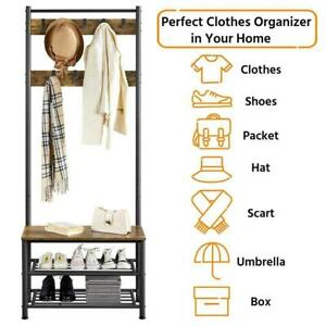 Free Standing Coat Stand Shoe Rack Hat Garment Wooden Storage Shelf with 9 Hooks