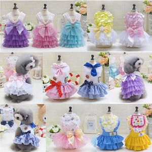 Various Pet Dog Cat Clothes Summer Bowknot Lace Princess Skirt Party Tutu Dress