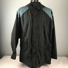 COLUMBIA outer layer black w gray+blue hooded outer shell ski snow MENS L JACKET