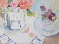 "Janette Jones Watercolor ""Tea Time"" Roses & Pansies Floral - Framed Original"