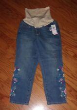 Flutter & Kick Maternity Cropped Blue Jeans Embroidered Floral Accent Sz 10