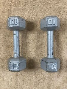 SET OF 2:10 POUND SILVER GYM LIFTING WEIGHTS STRENGTH TRAINING ~ CLO