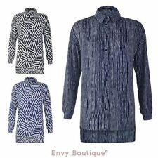 Chiffon Long Sleeve Machine Washable Striped Tops & Blouses for Women