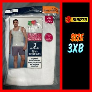 "FRUIT OF THE LOOM Big Man A-Shirts Tank Tops Size 3XB (54-56"") White 3-pack NWT"