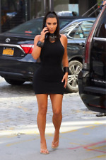 NEW  KIM KARDASHIAN LOOK 100% COTTON BLACK SHIRT DRESS COTTON STRETCH DRESS