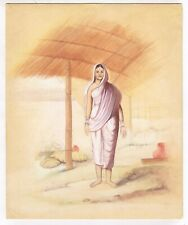 Hand Painted Indian Miniature Old Painting A Women In White Saari On Paper