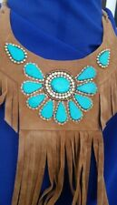 Brown Suede Fringe Cowgirl Necklace Сollar Turquoise stones beads Z6A-1/22