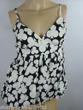 TOPSHOP PETITE Ladies Black/White Poker Club Print Vest Top UK 10 EU 38