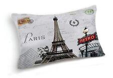 Retro Paris Eiffel Tower Metro Home Lumbar Pillow Case Cushion Cover 20''x12''