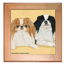 "Japanese Chin Dog Kitchen Ceramic Trivet Framed in Pine 8"" x 8"""
