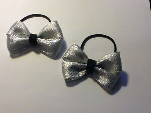 Madelienas Handmade ..Girls Glittery  Silver & Black Bows Hair Ties  / a Pair
