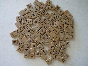 99 Genuine Scrabble Wood Letter Tiles From Vintage Travel Edition Game Set
