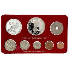 Papua New Guinea 1977 8 Coins .925 Silver 10 Kina & .500 5 K Proof Set COA Box