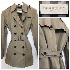 Burberry Trench Coat Khaki Green Classic Mac Raincoat Jacket | Size UK 6 - 8