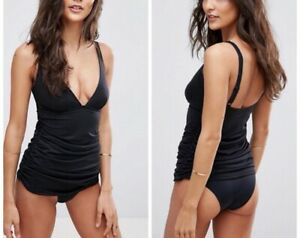 ASOS 'Sculpt Me' Control Gathered Waist Swimsuit Size 14 In Black