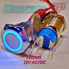PULSANTE MONOSTABILE 19mm SPDT LED BLU 12V DC / AC IP67 DEVIATORE antivandalo 5A