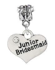 Junior Bridesmaid Heart Wedding Party Gift Dangle Charm for European Bracelets