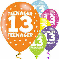 13th TEENAGER - 6 LARGE BALLOONS - HELIUM - AGE 13 PARTY boy girl - ass. colours