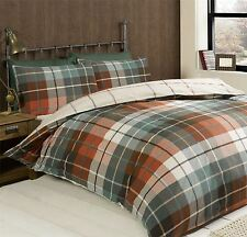 HARRIS PLAID CHECK ORANGE BLUE DOUBLE COTTON BLEND REVERSIBLE DUVET COVER