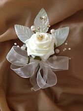 Men Ladies Rose Buttonhole Corsage Groom Pearls Diamante Gold Wedding Flowers