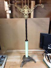 ANTIQUE VINTAGE BRASS CAST IRON HOUSE GLASS  LAMP BASE LIGHT PART