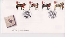UNADDRESSED GB ROYAL MAIL FDC 1997 THE QUEEN'S HORSES STAMP SET BUREAU PMK