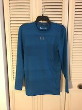 Under Armour Men's ColdGear Jacquard Compression Crew  Shirt Blue M 1301581