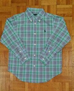 Ralph Lauren Boys Shirt size 7 years 7-8 Green Blue purp Check Small Pony LS New