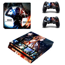 PS4 SLIM Skin Sticker Decal Cover 2 Controllers Anime SAO SWORD ART ONLINE