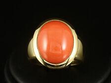 Zeitloser Ring mit Koralle Meistermarke Pauly 750-/ Gelbgold