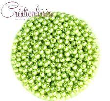 Lot de 100 Perles ronde nacré acrylique vert clair 4 mm