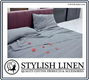 100% Bamboo Bed Sheet Set Fitted Flat Pillowcase King Size 300 T/C New Grey