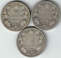 3 X CANADA 25 CENT QUARTERS QUEEN VICTORIA STERLING SILVER COINS 1890H 1892 1894