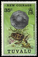 "TUVALU 22 (SG29) - New Coinage - One Dollar ""Green Sea Turtle"" Coin (pa94308)"