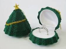 Christmas Tree Decoration Ring Box - Xmas Gift Case Earrings Jewellery - Green