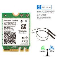 2.4Gbps Intel Wi-Fi 6 AX200NGW MU-MIMO Wifi Wireless WLAN Card BT 5.0+Antenna