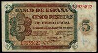 Billete de España 5 pesetas 1938 Burgos L7935822 ( LEER )