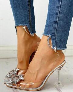 UK Womens Transparent Rhinestone Shoes Pointed Toe High Heel Sandlas Pump Party