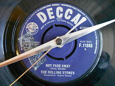 """THE ROLLING STONES-NOT FADE AWAY- 7""""single recycled vinyl record clock"""