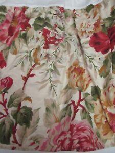 Ralph Lauren POST ROAD Beige Red Green Floral Ruffled Bedskirt - Queen