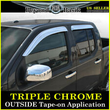 Chrome Door Vent Visors Rain Guards for 2005-2018 Nissan Frontier Crew Cab 4PC