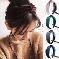 Women Headband Twist Hairband Bow Knot Cross Tie Velvet Headwrap Hair Band'Hoop^
