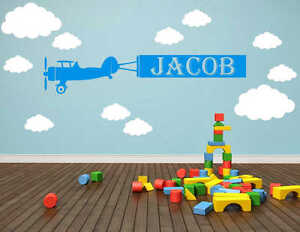 Personalised Plane Banner Name Wall Sticker Decal | Kids Bedroom Bespoke | NA10