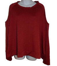 C&C California Cold Shoulder Knit Top sz XL heathered dark red NEW