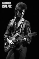David Bowie Playing Guitar Black & White Poster 24x36 New Free Shipping