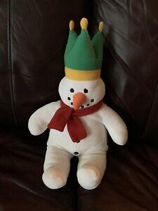 "RARE Talbots Kids Eden White Snowman Red Scarf Green Crown Stuffed Plush 17"""